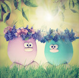 Easter eggs painted, with flowers, retro vintage filters Royalty Free Stock Image