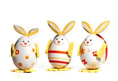 Easter eggs painted like bunnies royalty free stock image