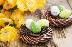 Easter Eggs Painted in Nests Royalty Free Stock Images