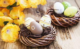 Easter Eggs Painted in Nests Royalty Free Stock Photography