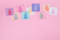 Easter Eggs Painted on Paper Stock Photo