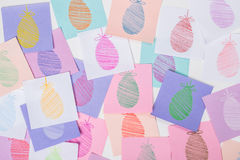 Easter Eggs Painted on Paper Stock Photos