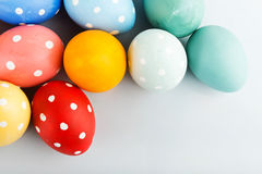 Easter eggs painted in pastel colors Stock Image