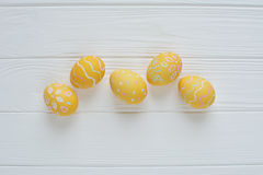 Easter eggs painted in pastel colors Stock Photos