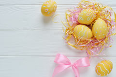 Easter eggs painted in pastel colors Royalty Free Stock Images