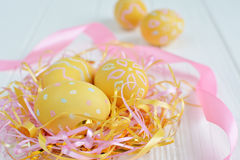 Easter eggs painted in pastel colors Royalty Free Stock Image