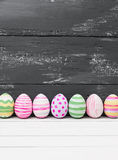 Easter eggs painted in pastel colors Stock Images