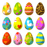 Easter eggs painted with pattern vector illustration. Stock Photos