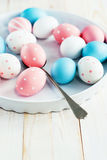 Easter Eggs Painted Pink, Blue colors and peas Royalty Free Stock Photos