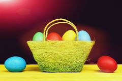 Easter eggs painted in red, blue, yellow and green colours royalty free stock photos