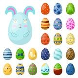 Easter eggs painted with spring pattern multi colored organic food holiday game vector illustration. Easter eggs painted with spring pattern. Decoration retro Stock Image