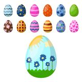 Easter eggs painted with spring pattern multi colored. Easter eggs painted with spring pattern. Decoration retro multi colored collection. Vintage ornament Royalty Free Stock Photos