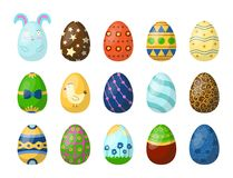 Easter eggs painted with spring pattern multi colored organic food. Easter eggs painted with spring pattern. Decoration retro multi colored collection. Vintage Stock Images