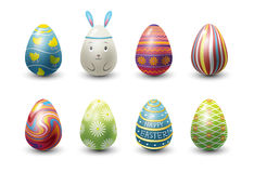 Easter eggs painted with spring pattern vector illustration. Royalty Free Stock Photography