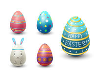 Easter eggs painted with spring pattern vector illustration. Royalty Free Stock Photo