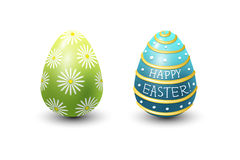 Easter eggs painted with spring pattern vector illustration. Stock Photos