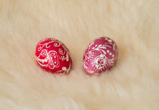 Easter eggs painted in the traditional way. Lying on sheep's fur Royalty Free Stock Image