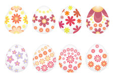 Easter eggs painted with varios flowers. Stock Photo