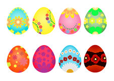 Easter eggs painted with varios flowers. Royalty Free Stock Photo
