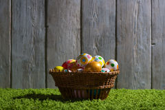 Easter eggs painted on a wooden background. Easter eggs painted on a wooden background of boards Royalty Free Stock Photo