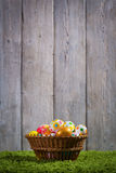 Easter eggs painted on a wooden background. Easter eggs painted on a wooden background of boards Stock Images