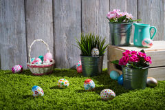 Easter eggs painted on a wooden background. Royalty Free Stock Image