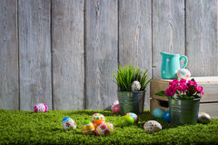 Easter eggs painted on a wooden background. Stock Photography