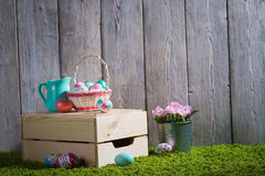 Easter eggs painted on a wooden background. Royalty Free Stock Photos