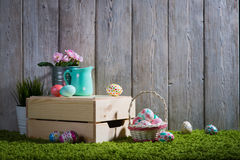 Easter eggs painted on a wooden background. Stock Images