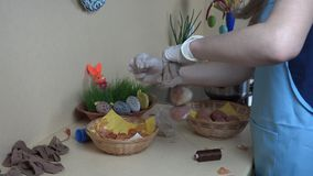 Easter eggs painting using natural organic materials stock footage