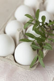 Easter eggs on pale background stock photo