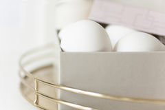 Easter eggs in pale box royalty free stock photo