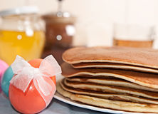 Easter eggs and pancakes Royalty Free Stock Photo