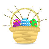 Colorful eggs in wicker basket Royalty Free Stock Image