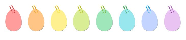 Easter Eggs Paper Clips Notes Colors stock image