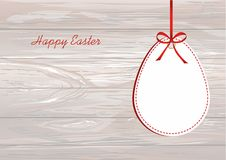 Easter eggs from paper hang on a tape with bows. Greeting card o. R invitation for a holiday. Free space for text. Vector on wooden background royalty free illustration