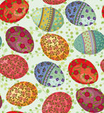 Easter eggs pattern. Seamless pattern with easter eggs painted with flowers -vector illustration Royalty Free Stock Photography