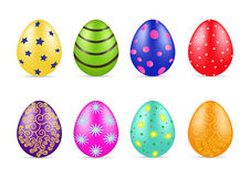 Easter eggs with pattern. Beautiful different Easter colorfull eggs with pattern. Spring holidays. Vector illustration Royalty Free Stock Images