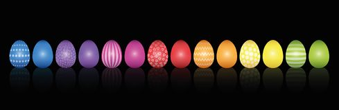 Easter Eggs Pattern Rainbow Colored Black. Easter eggs. Lined up with different colors and patterns. Rainbow colored three-dimensional isolated vector vector illustration