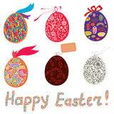 Easter eggs with patterns, bow Stock Photos