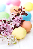 Easter eggs and peach flowers Stock Images
