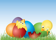 Easter eggs and pie Stock Images