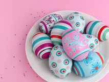 Easter eggs on pink Royalty Free Stock Photography