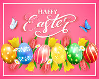 Easter eggs on pink background Stock Image