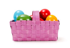 Easter eggs in pink basket Royalty Free Stock Photos