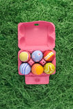 Easter eggs in pink box Royalty Free Stock Photo