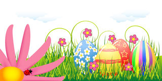 Easter eggs and pink flower Royalty Free Stock Photos