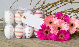 Easter eggs and pink flowers. Easter eggs with dots and stripes with pink gerbera and white copy space Royalty Free Stock Photo