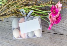 Easter eggs and flowers. Easter eggs with pink gerbera and white copy space Stock Photography