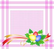 Easter eggs on a pink tablecloth Stock Photography